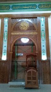 Mihrab masjid ukir dan khot kaligrafi
