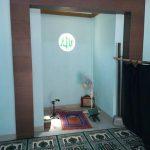 Gebyok Jawa motif kaligrafi pintu kaca
